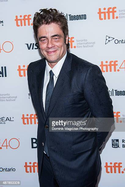 Actor Benicio del Toro attends the 'Sicario' premiere during the Toronto International Film Festival at the Princess of Wales Theatre on September 11...
