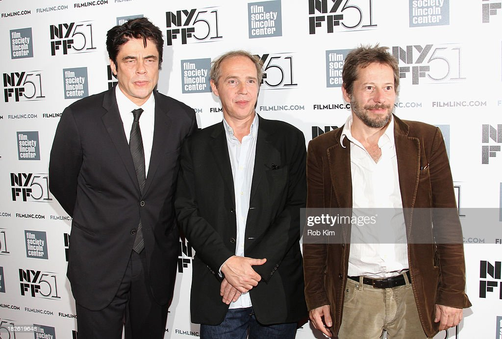 Actor Benicio del Toro, director Arnaud Desplechin, and actor Mathieu Amalric attend the 'Jimmy