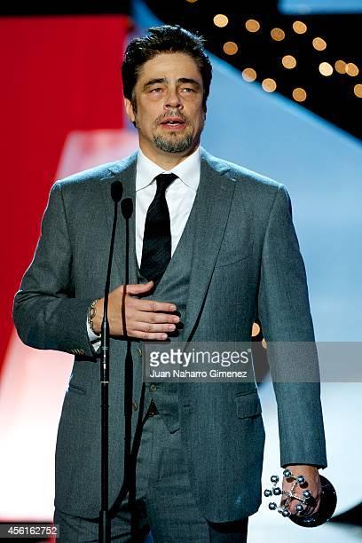 Actor Benicio del Toro receives the 'Donosti' Lifetime Achievement Award at the Kursaal Palace during the 62nd San Sebastian International Film...