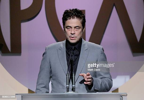 Actor Benicio Del Toro speaks onstage at the 27th Annual Producers Guild Awards at the Hyatt Regency Century Plaza on January 23 2016 in Century City...