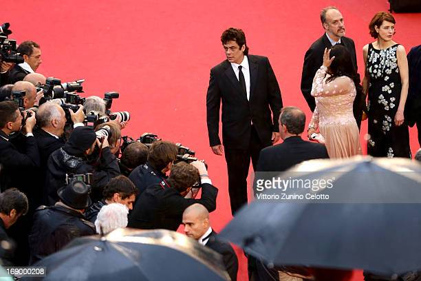 Actor Benicio Del Toro writer Kent Jones actress Misty Upham and actress Gina McKee attend the 'Jimmy P ' Premiere during the 66th Annual Cannes Film...