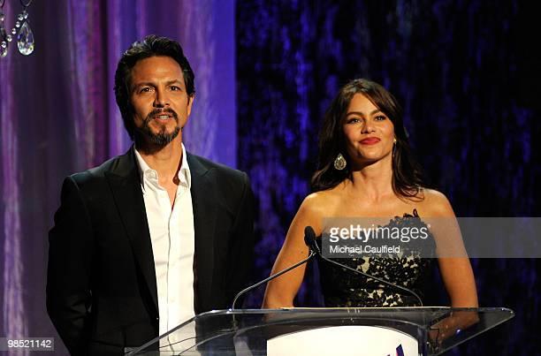 Actor Benjamin Bratt and actress Sofia Vergara onstage at the 21st Annual GLAAD Media Awards held at Hyatt Regency Century Plaza Hotel on April 17,...