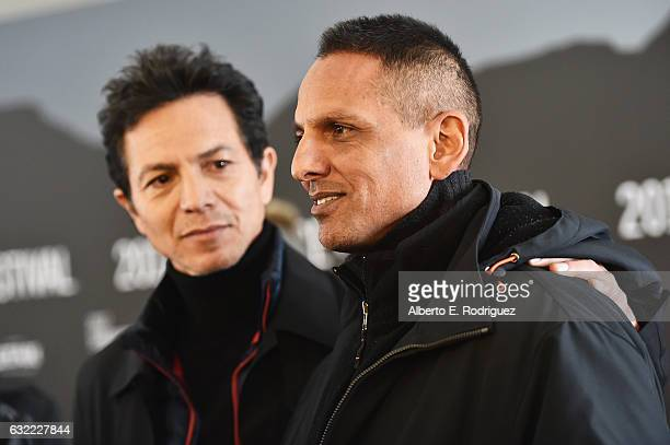 Actor Benjamin Bratt and Director Peter Bratt attend the 'Dolores' premiere during day 2 of the 2017 Sundance Film Festival at Library Center Theater...