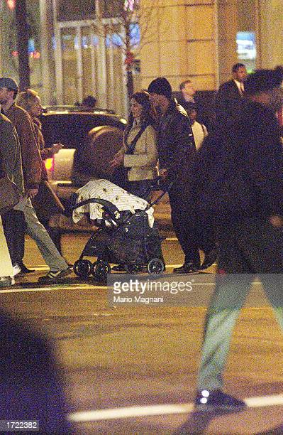 Actor Benjamin Bratt walks with his baby girl Sophia Rosalinda Bratt and his wife actress Talisa Soto after shopping December 19 2002 in New York City
