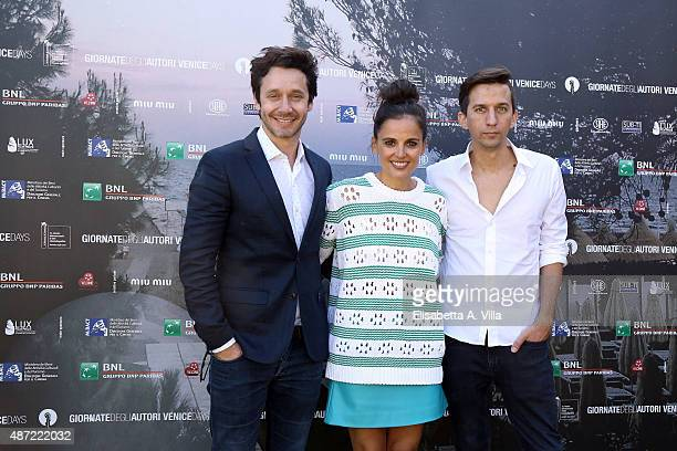 Actor Benjamin Vicuna actress Elena Anaya and director Matias Bize attends a photocall for The Memory Of Water' during the 72nd Venice Film Festival...