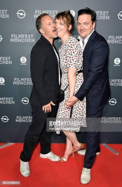 Actor Benno Fuermann Lina Beckmann and Charly Huebner attend the 'Fuehlen Sie sich manchmal ausgebrannt und leer' Premiere during Munich Film...
