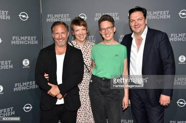 Actor Benno Fuermann Lina Beckmann Lola Randl and Charly Huebner attend the 'Fuehlen Sie sich manchmal ausgebrannt und leer' Premiere during Munich...