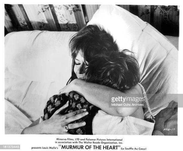 "Actor Benoet Ferreux and actress Lea Massari on set of the movie ""Murmur of the Heart"" in 1971."