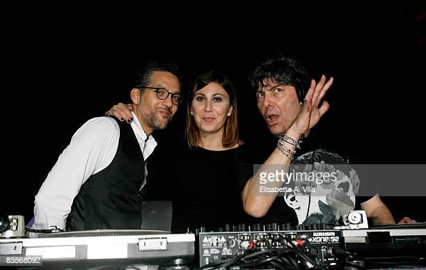 """Actor Beppe Fiorello, Eleonora Pratelli and DJ Claudio Coccoluto attend the """"Galantuomini"""" party at Officine Farneto during the 3rd Rome..."""