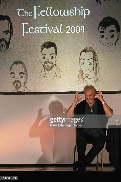 Actor Bernard Hill addresses the audience at The Fellowship Festival 2004 aimed at J R R Tolkien fans at Alexandra Palace on August 28 2004 in London...