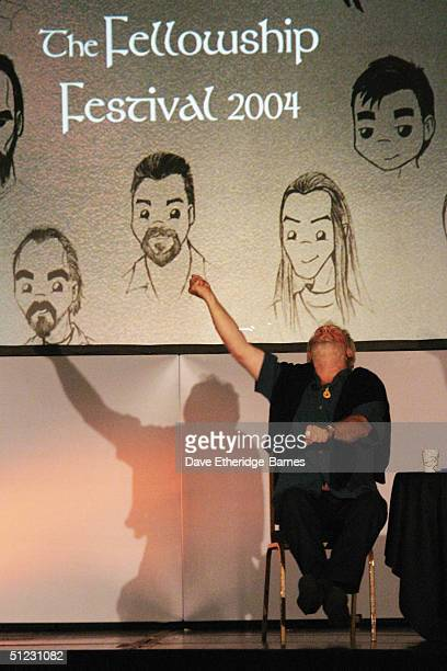Actor Bernard Hill describes to the audience how to lead a charge at The Fellowship Festival 2004 aimed at J R R Tolkien fans at Alexandra Palace on...