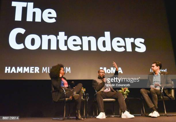 Actor Betty Gabrie writer/director Jordan Peele and The Museum of Modern Art as The Celeste Bartos Chief Curator of Film Rajendra Roy speak onstage...