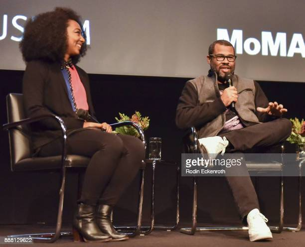Actor Betty Gabriel and writer/director Jordan Peele speak onstage at Hammer Museum presents The Contenders 2017 'Get Out' screening at Hammer Museum...