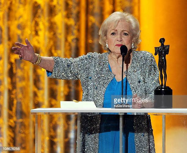 """Actor Betty White, winner of Outstanding Performance by a Female Actor in a Comedy Series award for """"Hot in Cleveland,"""" speaks onstage during the..."""