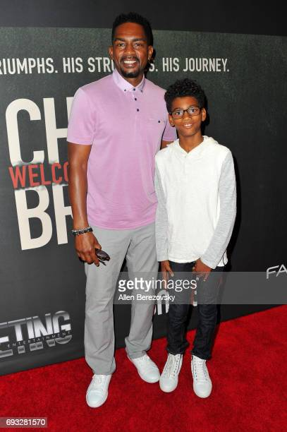 Actor Bill Bellamy and actor Baron Bellamy attend the premiere of Fathom Events' Chris Brown Welcome To My Life at Regal LA Live Stadium 14 on June 6...