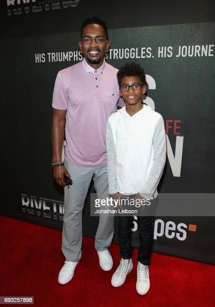 Actor Bill Bellamy and his son Baron attend the Premiere Of Riveting Entertainment's Chris Brown Welcome To My Life at LA LIVE on June 6 2017 in Los...