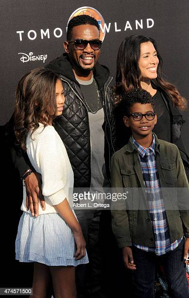 Actor Bill Bellamy wife Kristen daughter Bailey and son Baron arrive for the Premiere Of Disney's Tomorrowland held at AMC Downtown Disney 12 Theater...