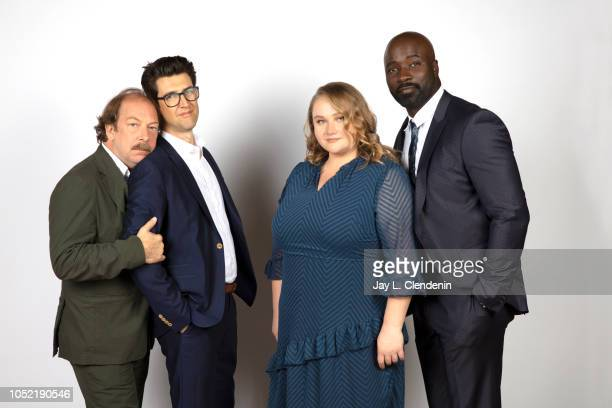 Actor Bill Camp director Guy Nattiv actors Danielle Macdonald and Mike Colter from 'Skin' are photographed for Los Angeles Times on September 8 2018...