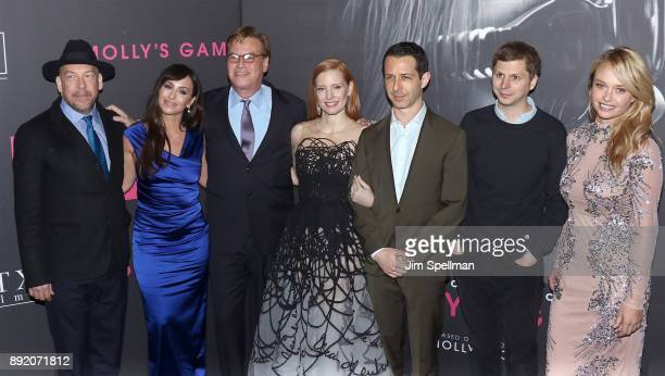 Actor Bill Camp Molly Bloom writer/director Aaron Sorkin actors Jessica Chastain Jeremy Strong Michael Cera and Madison McKinley attend the 'Molly's...