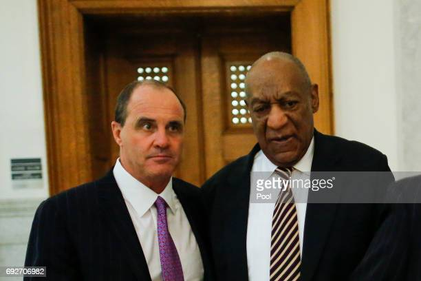 Actor Bill Cosby and defense attorney Brian McMonagle exit the elevator at the end of the hearing at the Montgomery County Courthouse on June 5 2017...