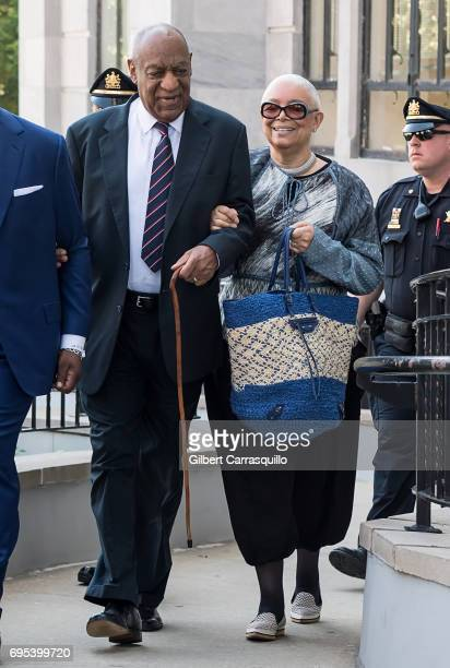 Actor Bill Cosby and wife Camille Cosby arrive at Bill Cosby Trial at Montgomery County Courthouse on June 12 2017 in Norristown Pennsylvania
