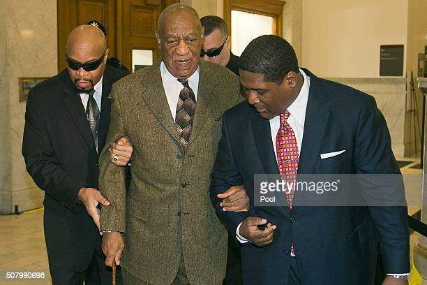 Actor Bill Cosby arrives for a pretrail hearing in his sexual assault case at the Montgomery County Courthouse on February 2 2016 in in Norristown...
