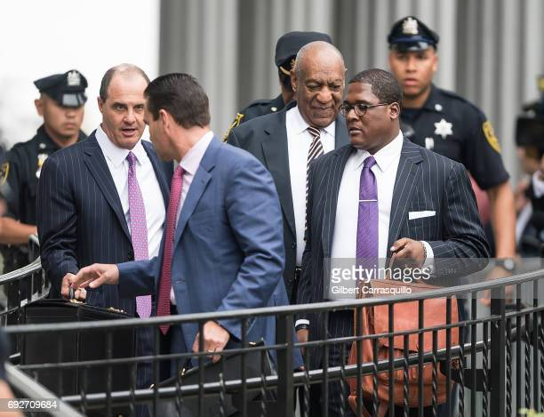 Actor Bill Cosby is seen leaving the first day of his court trial at Montgomery County Courthouse on June 5, 2017 in Norristown, Pennsylvania.