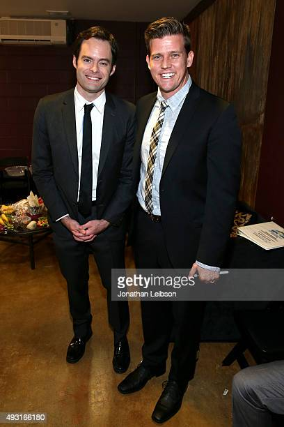 Actor Bill Hader and auctioneer Zack Krone attend Hilarity for Charity's annual variety show James Franco's Bar Mitzvah benefiting the Alzheimer's...