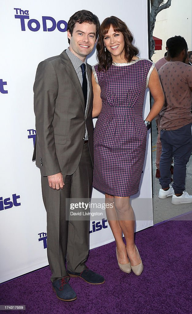 Actor Bill Hader (L) and wife writer/director Maggie Carey attend the premiere of CBS Films' 'The To Do List' at the Regency Bruin Theatre on July 23, 2013 in Westwood, California.
