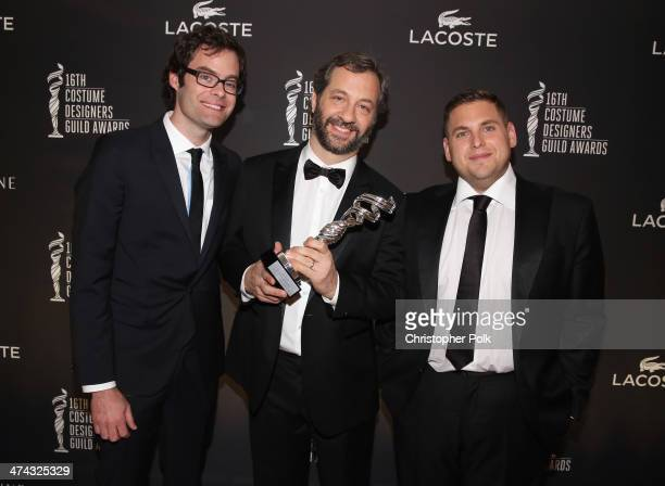 Actor Bill Hader honoree Judd Apatow and actor Jonah Hill pose with the Distinguished Collaborator award during the 16th Costume Designers Guild...