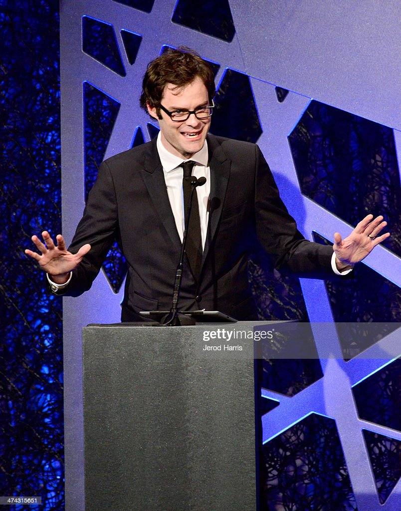 Actor Bill Hader speaks onstage during the 16th Costume Designers Guild Awards with presenting sponsor Lacoste at The Beverly Hilton Hotel on February 22, 2014 in Beverly Hills, California.
