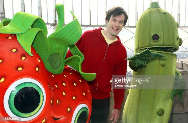Actor Bill Hader visits The Empire State Building in celebration Of Cloudy With A Chance Of Meatballs 2 release on September 25 2013 in New York City