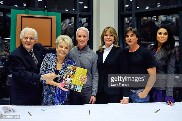 Actor Bill Hayes actress Susan Seaforth Hayes production manager Greg Meng actress Deidre Hall actor Bryan Datillo and actress Nadia Bjorlin appear...