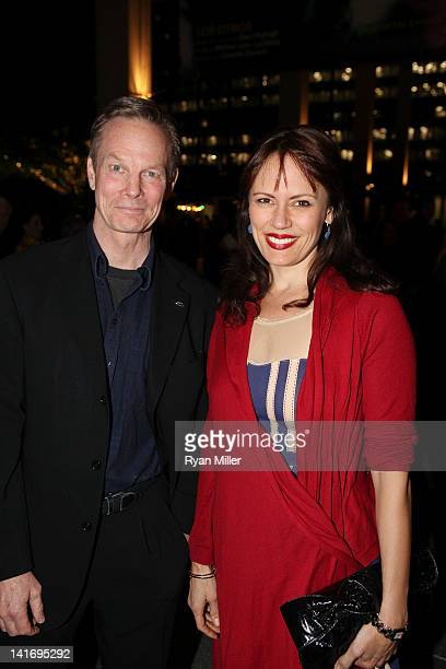Actor Bill Irwin and actresses Emily Swallow pose during the arrivals for the opening night performance of Waiting for Godot at Center Theatre...