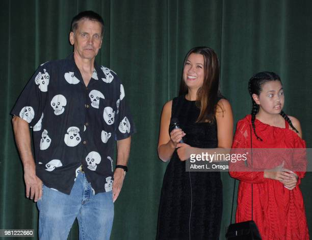 Actor Bill Moseley actress Caitlin Williams and actress Chalet Lizette Brannan answer questions during the Q A at the Premiere Of Crepitus held at...