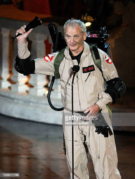 """Actor Bill Murray accepts the Best Horror Movie award onstage during Spike TV's """"Scream 2010"""" at The Greek Theatre on October 16, 2010 in Los..."""