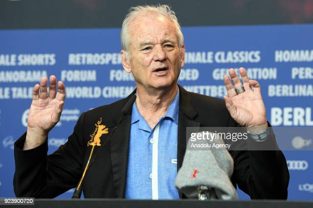 Actor Bill Murray addresses a news conference after received a Silver Bear on behalf of Wes Anderson for the best director during the 68th edition of...