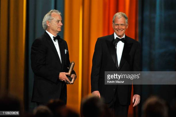 Actor Bill Murray and David Letterman speak onstage at The First Annual Comedy Awards at Hammerstein Ballroom on March 26 2011 in New York City