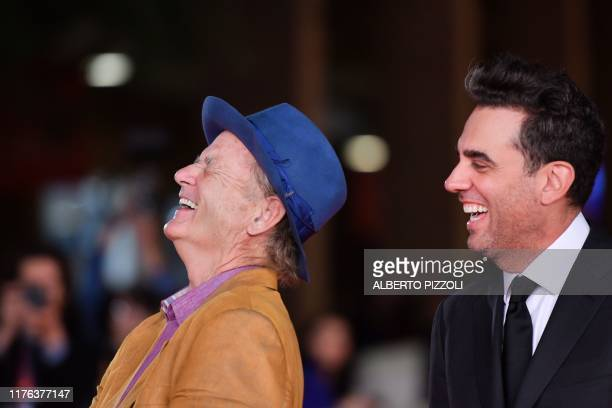 US actor Bill Murray and US actor Bobby Cannavale joke as they arrive for the screening of US crime drama Motherless Brooklyn during the 14th Rome...
