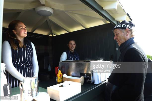 Actor Bill Murray at a hotfog stand on the 5th hole during Day three of the Alfred Dunhill Links Championship at Kingsbarns Golf Links on September...