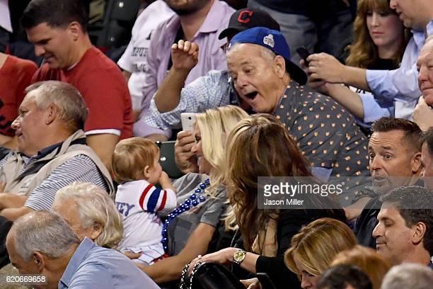 Actor Bill Murray attends Game Seven of the 2016 World Series between the Chicago Cubs and the Cleveland Indians at Progressive Field on November 2...