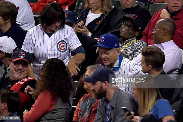 Actor Bill Murray attends Game Six of the 2016 World Series between the Chicago Cubs and the Cleveland Indians at Progressive Field on November 1...