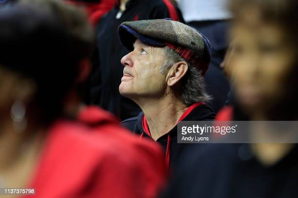 Actor Bill Murray attends the First Round of the NCAA Basketball Tournament between the Louisville Cardinals and the Minnesota Golden Gophers at...