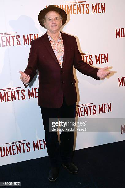 Actor Bill Murray attends the 'Monuments Men' : Premiere at Cinema UGC Normandie on February 12, 2014 in Paris, France.