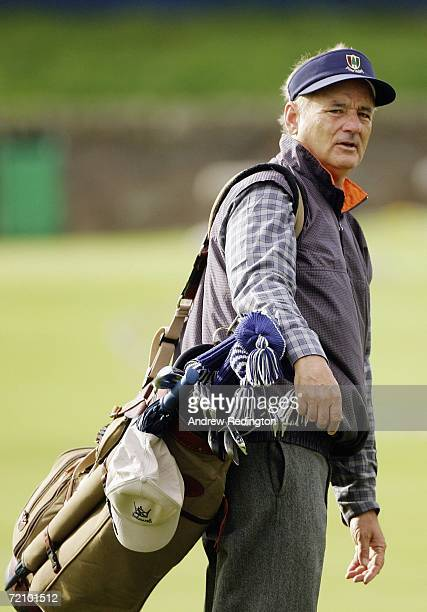 Actor Bill Murray carries his golf clubs to the 2nd Hole tee during the Second Round of The Alfred Dunhill Links Championship at The Old Course on...
