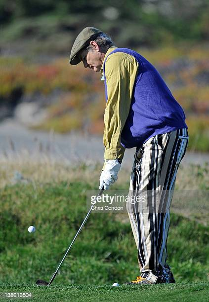 Actor Bill Murray chips to the 3rd green during the first round of the ATT Pebble Beach National ProAm at Spyglass Hill Golf Course on February 9...