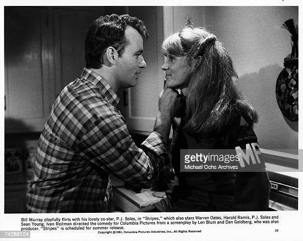 Actor Bill Murray flirts with actress PJ Soles in the film 'Stripes' Photo by Michael Ochs Archives/Getty Images