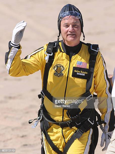 Actor Bill Murray is shown after skydiving tandem with the US Army parachute team the Golden Knights at the 50th Chicago Air and Water Show on August...
