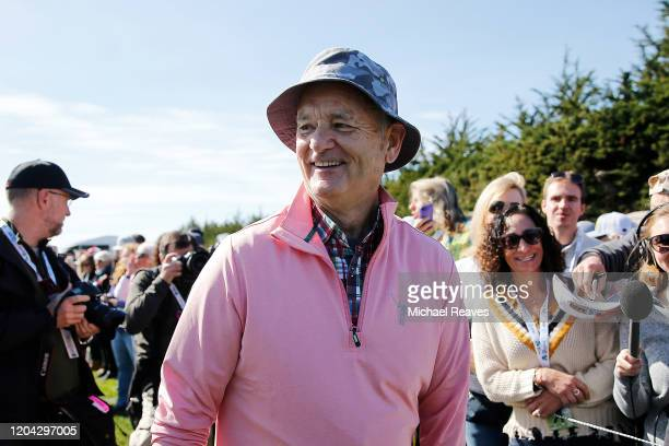 Actor Bill Murray laughs during the 3M Celebrity Challenge prior to the ATT Pebble Beach ProAm at Pebble Beach Golf Links on February 05 2020 in...