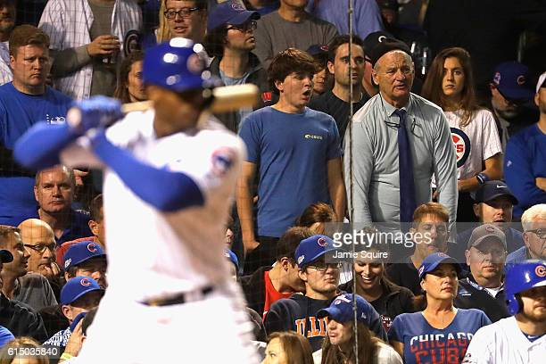 Actor Bill Murray looks on during game one of the National League Championship Series between the Chicago Cubs and the Los Angeles Dodgers at Wrigley...